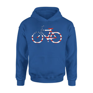 American Flag Bicycle 4th Of July Gift Idea Premium Hoodie