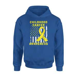 Childhood Cancer Awareness American Flag Premium Hoodie