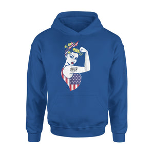 American Flag Strong Woman Catfish Tatto Funny Premium Hoodie