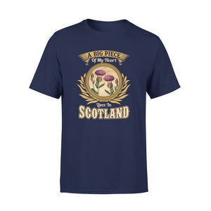 Mens Cotton Crew Neck T-Shirt - A Big Piece Of My Heart Lives In Scotland