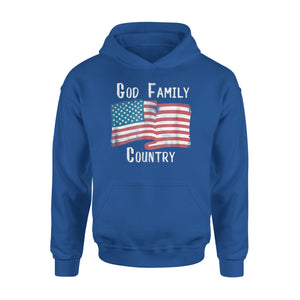 Christian God Family Country Patriotic American Flag Premium Hoodie