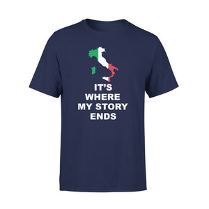 Mens Cotton Crew Neck T-Shirt - Italy Where My Story Ends 01