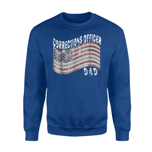 Corrections Officer Dad Distressed Flag Grey Line Sweatshirt