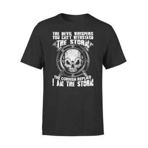 Mens Cotton Crew Neck T-Shirt - The Cornish Replied I Am The Storm 01