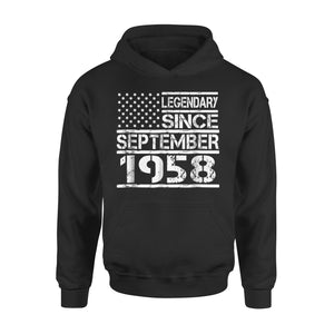 60th Birthday Gift American Flag September 1958 Years Premium Hoodie