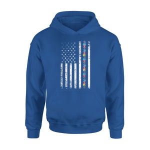 Autism Shirt American Flag Puzzle Piece Special Education Premium Hoodie