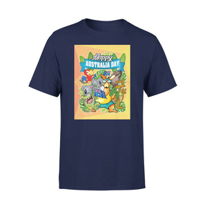 Mens Cotton Crew Neck T-Shirt - Happy Australia 01