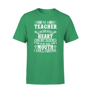 Mens Cotton Crew Neck T-Shirt - Im A Teacher 01