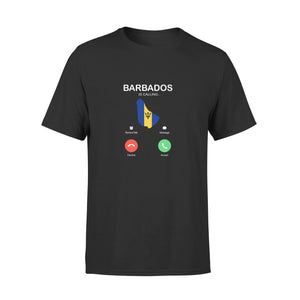 Mens Cotton Crew Neck T-Shirt - Barbados Is Calling 01