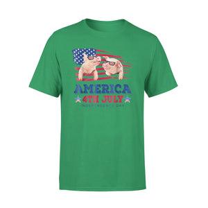 American 4th July Independence Day-Pig Premium T-Shirt