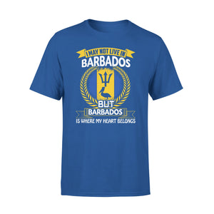 Mens Cotton Crew Neck T-Shirt - Barbados Is Where My Heart Belongs 01