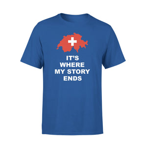 Mens Cotton Crew Neck T-Shirt - Switzerland Where My Story Ends 01