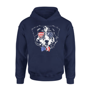 Australian Shepherd Dog American Flag 4th Of July Premium Hoodie