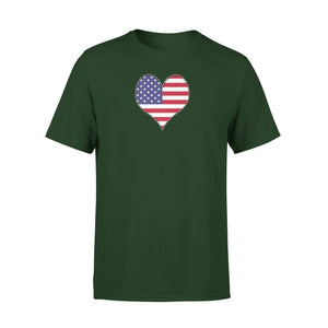 American Heart Usa Flag 4th July Premium T-Shirt