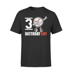 3 Year Old Birthday Dabbing Baseball T-Shirt