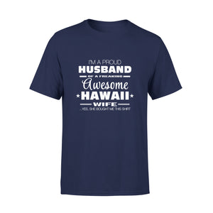 Mens Cotton Crew Neck T-Shirt - Hawaii Wife 01