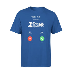 Mens Cotton Crew Neck T-Shirt - Wales Is Calling 01