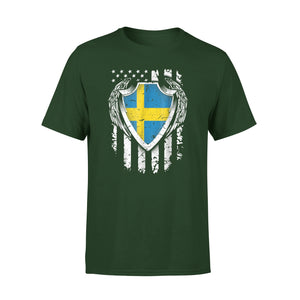 Angel Swedish American Flag Patriotic Sweden Usa Premium T-Shirt