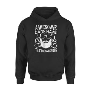Awesome Dads Have Tattoos Beards Husband Father Hoodie