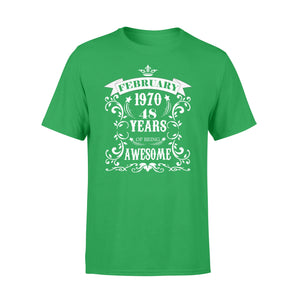 Cotton Crew Neck T-Shirt - 48th Birthday Gift - Awesome Born In February 1970