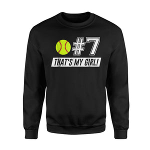 #7 Softball Mom, Softball Dad Sweatshirt