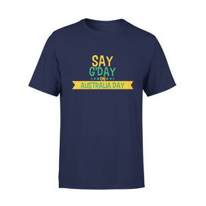 Mens Cotton Crew Neck T-Shirt - Say GDay On Australia Day 01