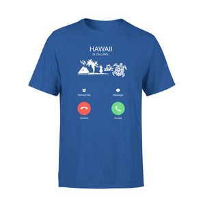 Mens Cotton Crew Neck T-Shirt - Hawaii Is Calling 01