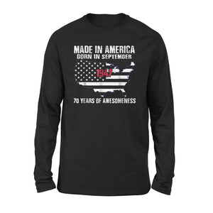 American Flag - 70th Birthday Made in America September 1947 Premium Long Sleeve T-Shirt
