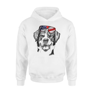 Cool Rottweiler Dog American Flag Glasses Premium Hoodie