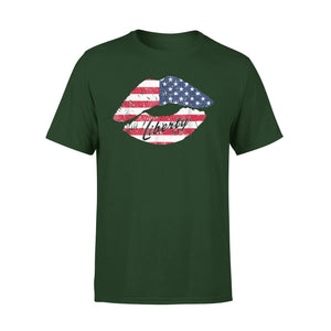 American Liberty 4th Of July Usa Flag Lips Premium T-Shirt