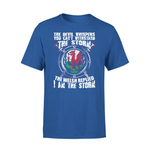 Mens Cotton Crew Neck T-Shirt - The Welsh Replied I Am The Storm 01