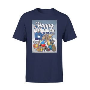 Mens Cotton Crew Neck T-Shirt - Happy Australia 02