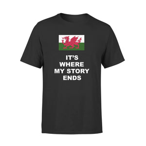 Mens Cotton Crew Neck T-Shirt - Wales Where My Story Ends 01