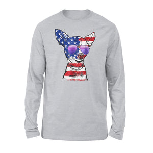 Chihuahua American Flag Premium Long Sleeve T-Shirt