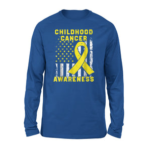 Childhood Cancer Awareness American Flag Premium Long Sleeve T-Shirt