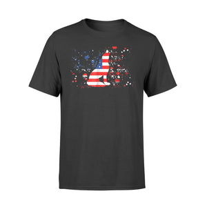 American Flag Wolf Patriotic 4th Of July Gift Tee T-Shirt