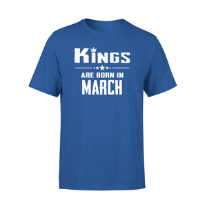 Mens Cotton Crew Neck T-Shirt - Kings Are Born In March 01
