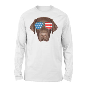 Chocolate Labrador Cool Lab American Premium Long Sleeve T-Shirt