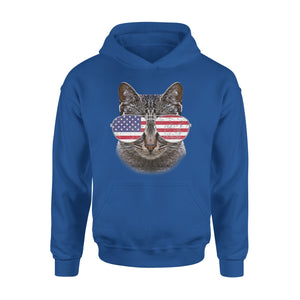 Cat With American Flag Sunglasses 4th Of July Premium Hoodie