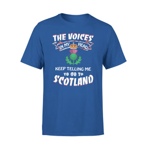 Mens Cotton Crew Neck T-Shirt - The Voices In My Head Keep Telling Me To Go To Scotland 01
