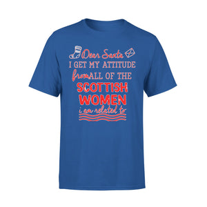 Mens Cotton Crew Neck T-Shirt - Christmas Attitude From Scottish Womens 01