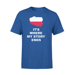 Mens Cotton Crew Neck T-Shirt - Poland Where My Story Ends 01