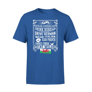 Mens Cotton Crew Neck T-Shirt - Stay Welsh 01