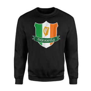 Donnelly Irish Name Flag Harp Family Crest Sweatshirt