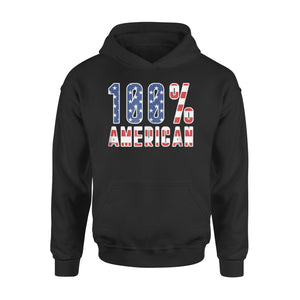 100 % American With Usa Flag Stripes Tee Premium Hoodie