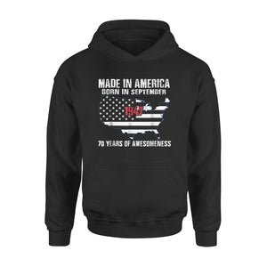 American Flag - 70th Birthday Made In America September 1947 Premium Hoodie