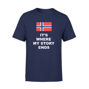 Mens Cotton Crew Neck T-Shirt - Norway Where My Story Ends 01
