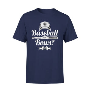 Baseball Or Bows Cool Gender Reveal Party Gift T-Shirt