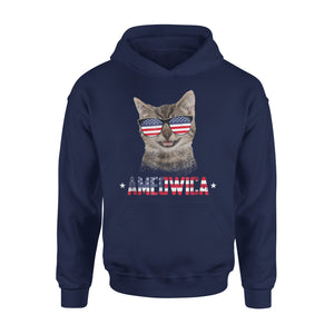 Ameowica 4Th Of July Party Meow Cat American Flag Premium Hoodie