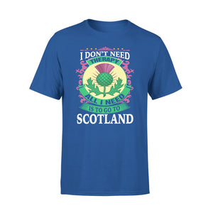 Mens Cotton Crew Neck T-Shirt - All I Need Is To Go To Scotland 01